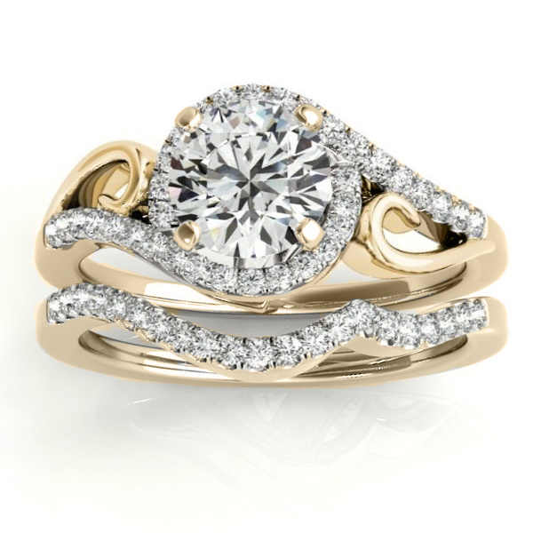 Diamond Swirl Engagement Ring & Band Bridal Set 14k Yellow Gold 0.36ct