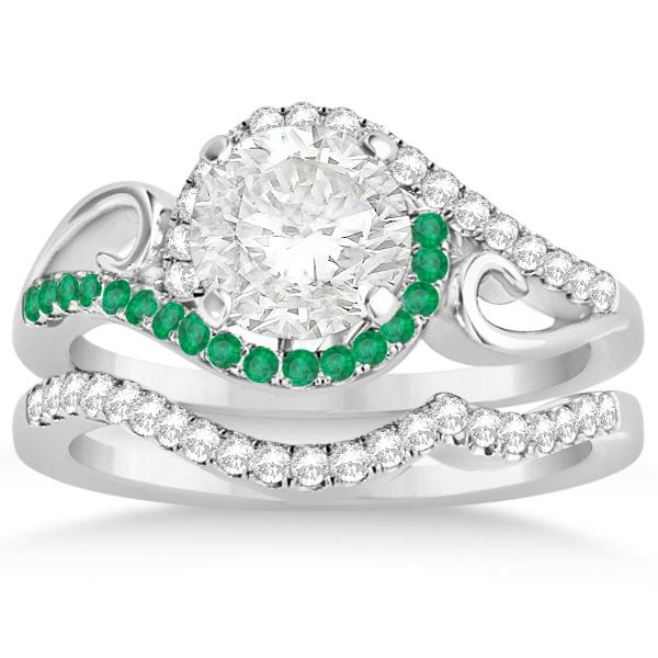 Swirl Bypass Halo Diamond & Emerald Bridal Set 14k White Gold 0.36ct