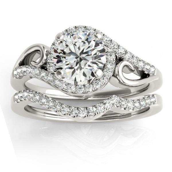 Diamond Swirl Engagement Ring U0026 Band Bridal Set Platinum 0.36ct