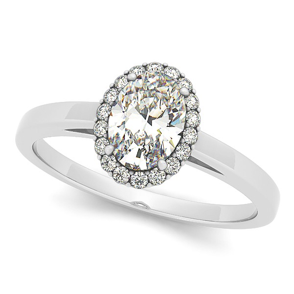 Oval Shaped Diamond Halo Engagement Ring 14k White Gold 0 63ct