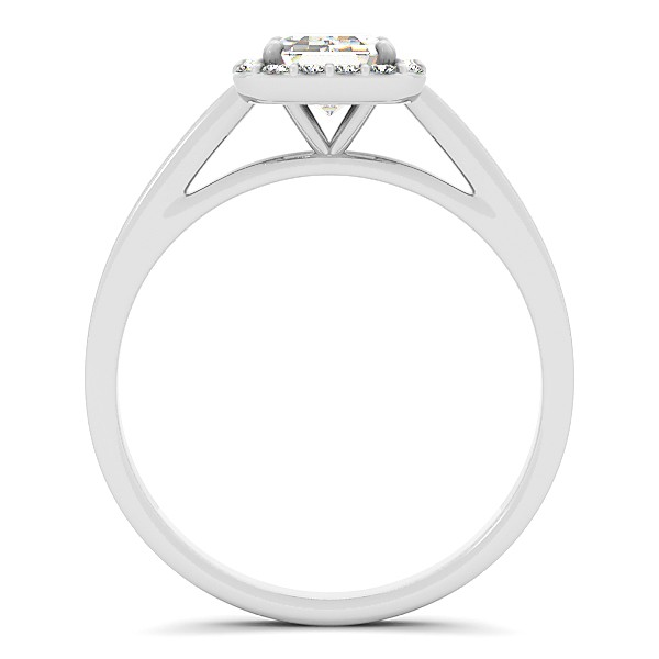 Emerald Cut Diamond Halo Engagement Ring in 14k White Gold (0.35ct)