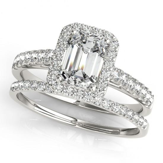 Diamond Halo Emerald-Cut Bridal Set 14k White Gold (1.00ct)