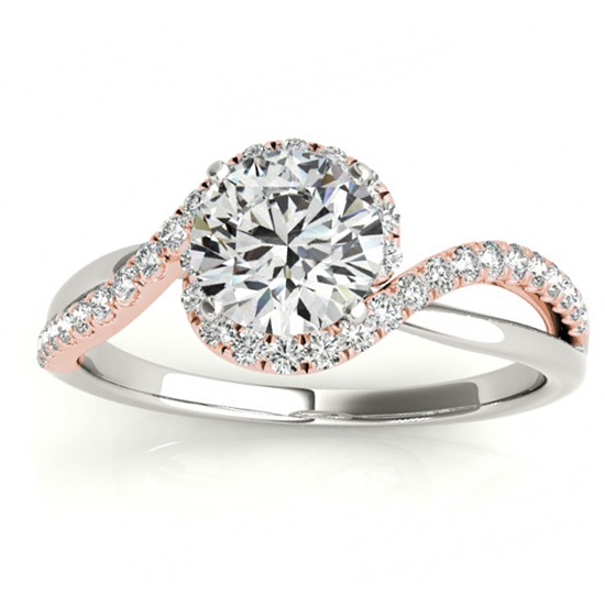 Halo Diamond Twisted Engagement Ring Setting 14k Two Tone Gold 0.20ct