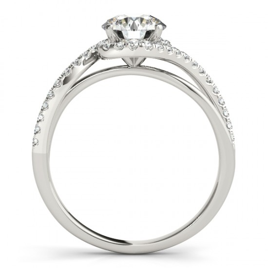 Halo Diamond Twisted Engagement Ring Setting 14k White Gold (0.20ct)