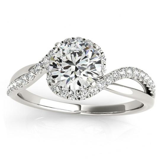 Diamond Halo Twisted Ring Setting U0026 Band Bridal Set 14k W. Gold 0.33ct