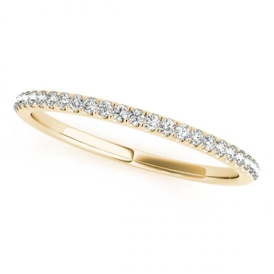 Diamond Pave Wedding Band Ring 14k Yellow Gold (0.14ct)