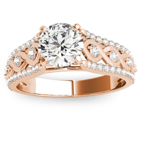 Graduating Diamond Twisted Engagement Ring 14k Rose Gold (0.38ct)