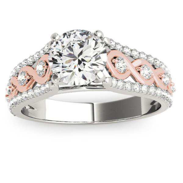 Graduating Diamond Twisted Engagement Ring 14k Two Tone Gold (0.38ct)