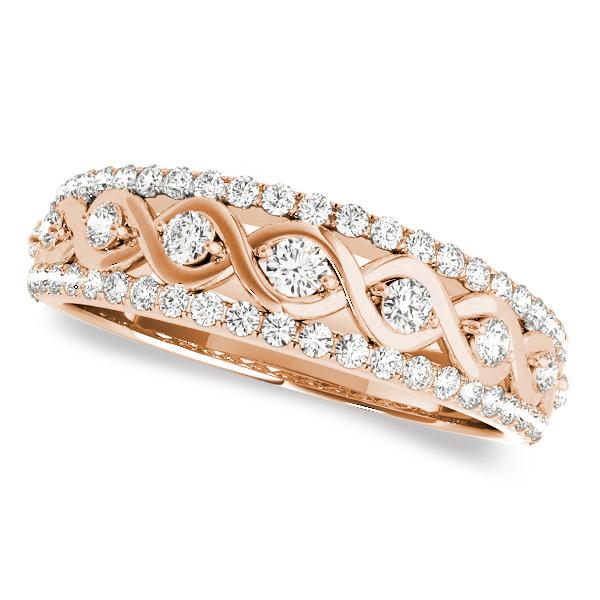 Graduating Diamond Twisted Wedding Band 14k Rose Gold (0.38ct)