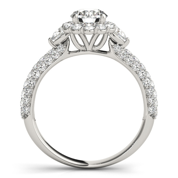 Flower Halo Pear Accents Diamond Engagement Ring 14k White Gold 1.75ct
