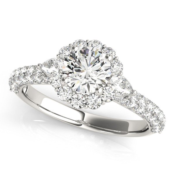 Flower Halo Pear Accented Diamond Engagement Ring Palladium (1.75ct)