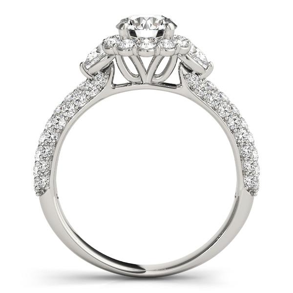 Pave' Flower Halo Pear Cut Diamond Bridal Set 18k White Gold (2.50ct)