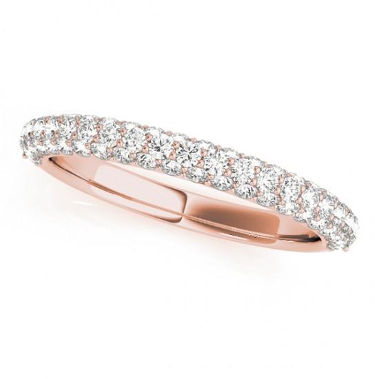 Triple Row Micro-pave' Diamond Wedding Band 14k Rose Gold (0.75ct)