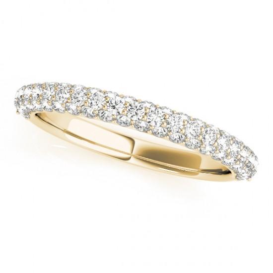 Triple Row Micro-pave' Diamond Wedding Band 18k Yellow Gold (0.75ct)