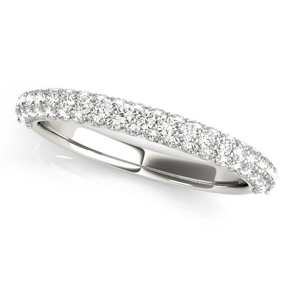 Triple Row Micro-pave' Diamond Wedding Band Platinum (0.75ct)