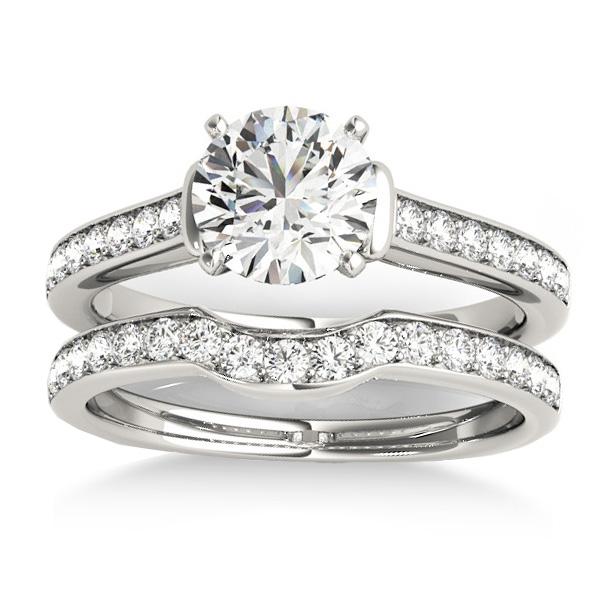 Diamond Accent Bridal Set 14k White Gold (0.48ct)