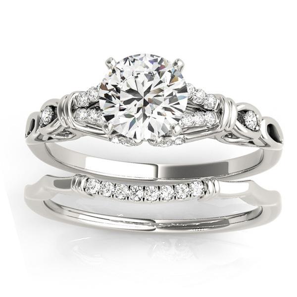 Diamond Antique Style Bridal Set Setting 14k White Gold (0.18ct)
