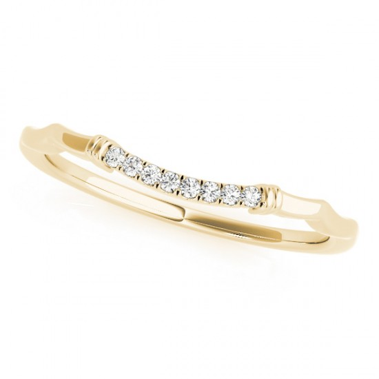 Diamond Pave Contoured Wedding Band Ring 14k Yellow Gold (0.04ct)