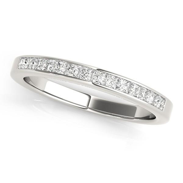 Princess-Cut Diamond Channel Wedding Band 14k White Gold (0.25ct)
