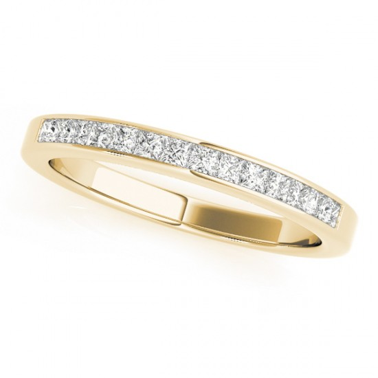 Princess-Cut Diamond Channel Wedding Band 14k Yellow Gold (0.25ct)
