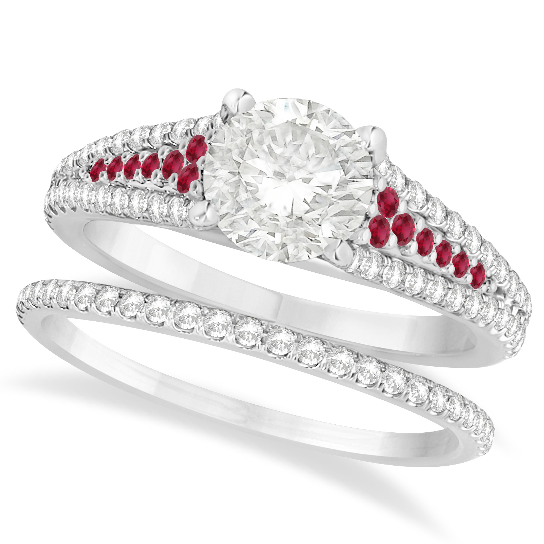 Ruby and Diamond Engagement Ring Bridal Set 14k White Gold ...