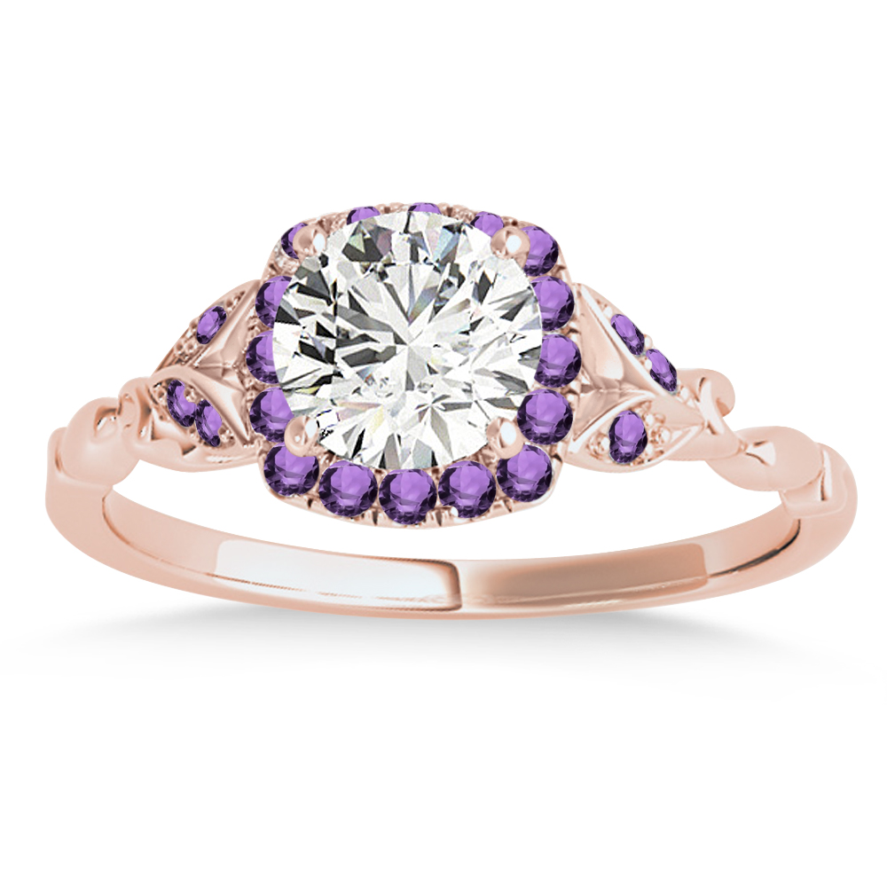 Amethyst Butterfly Halo Engagement Ring 14k Rose Gold (0.14ct)