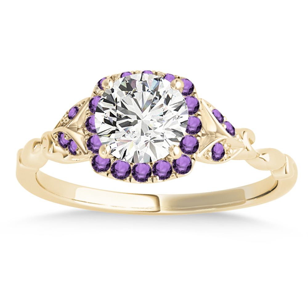 Amethyst Butterfly Halo Engagement Ring 18k Yellow Gold (0.14ct)