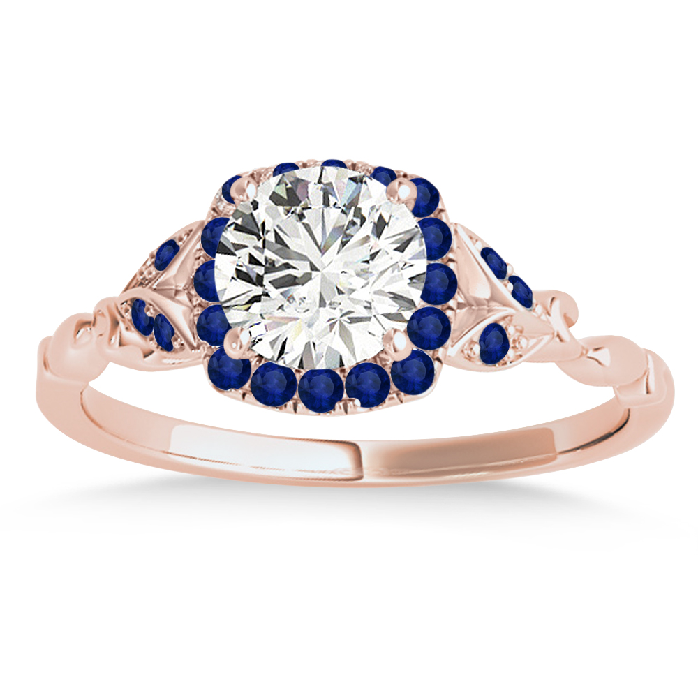 Blue Sapphire Butterfly Halo Engagement Ring 18k Rose Gold (0.14ct)
