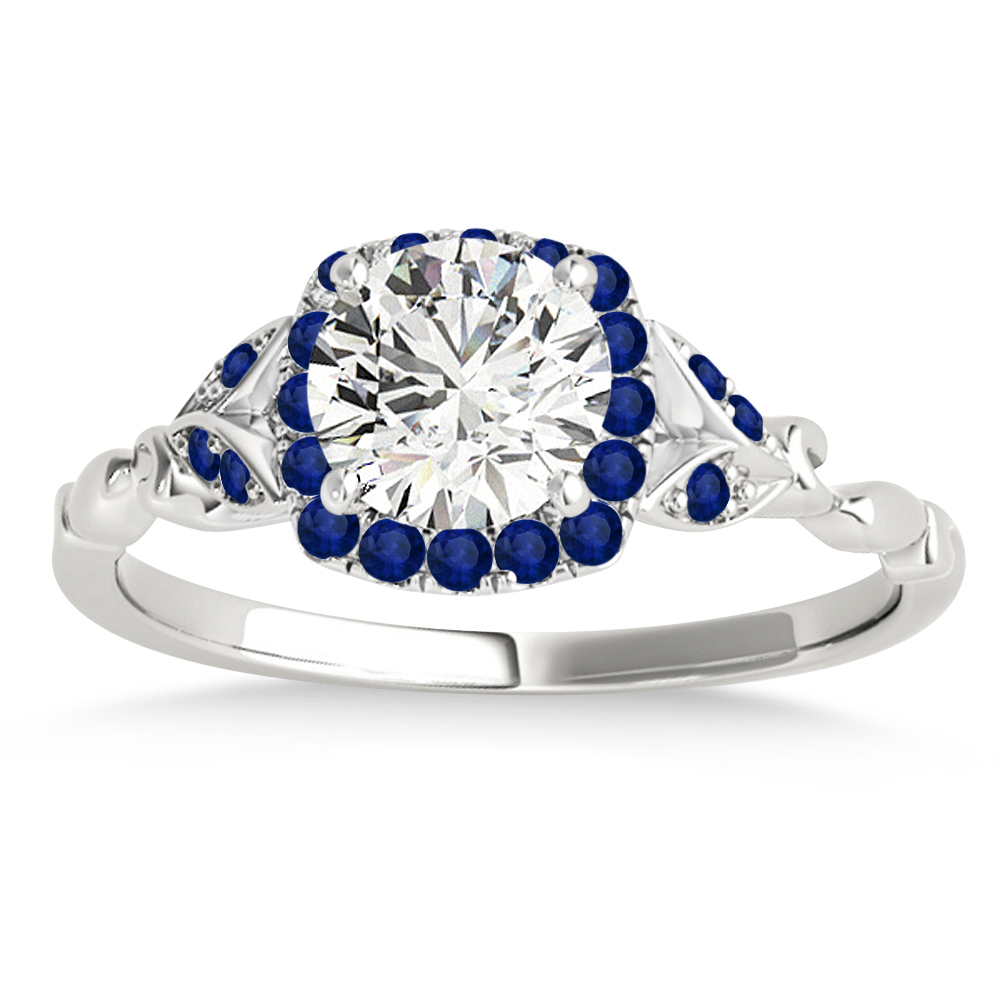 Blue Sapphire Butterfly Halo Engagement Ring Platinum (0.14ct)