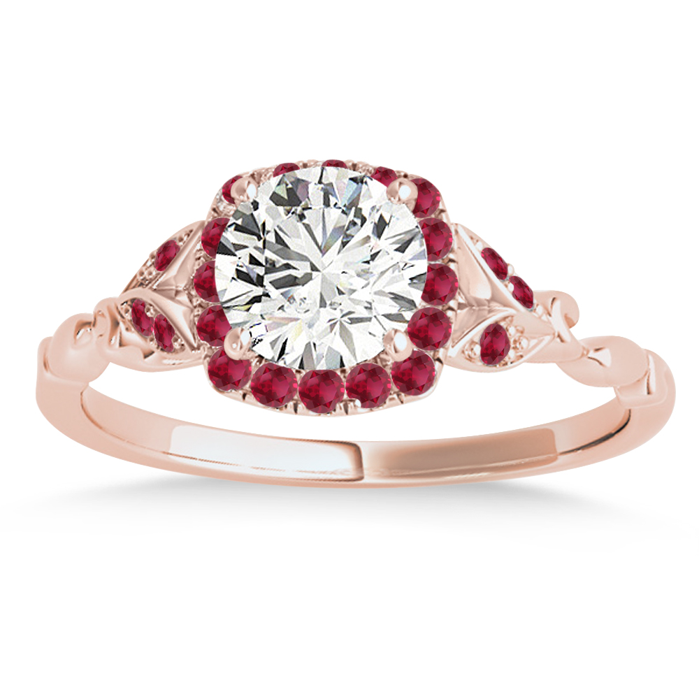 Ruby Butterfly Halo Engagement Ring 18k Rose Gold (0.14ct)