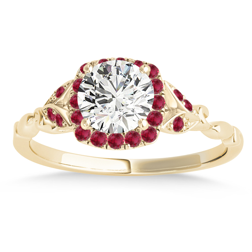 Ruby Butterfly Halo Engagement Ring 18k Yellow Gold (0.14ct)