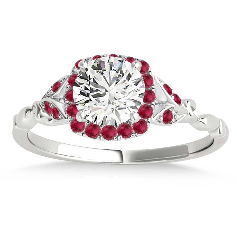 Ruby Butterfly Halo Engagement Ring Platinum (0.14ct)