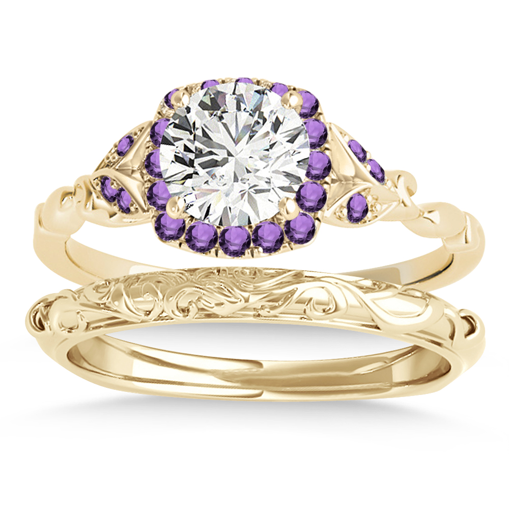 Amethyst Butterfly Halo Bridal Set 14k Yellow Gold (0.14ct)