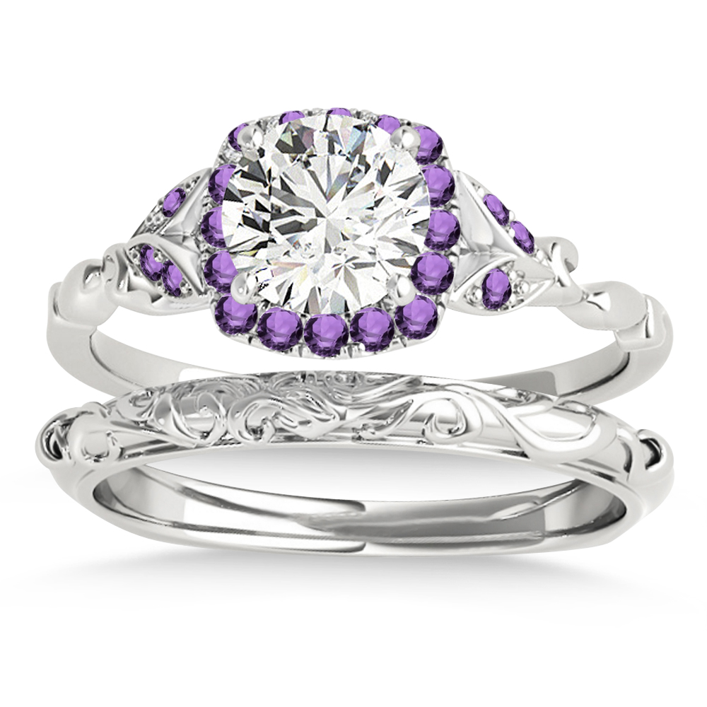 Amethyst Butterfly Halo Bridal Set Palladium (0.14ct)