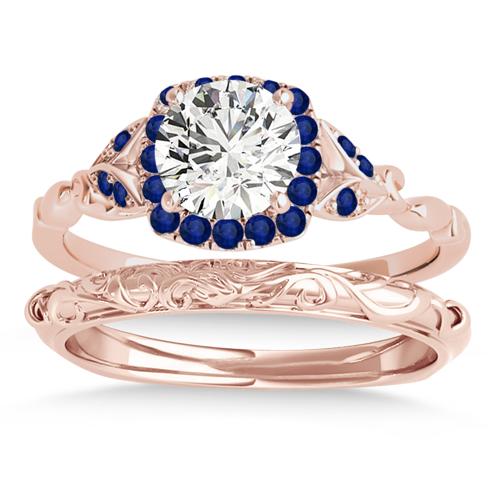 Blue Sapphire Butterfly Halo Bridal Set 18k Rose Gold (0.14ct)