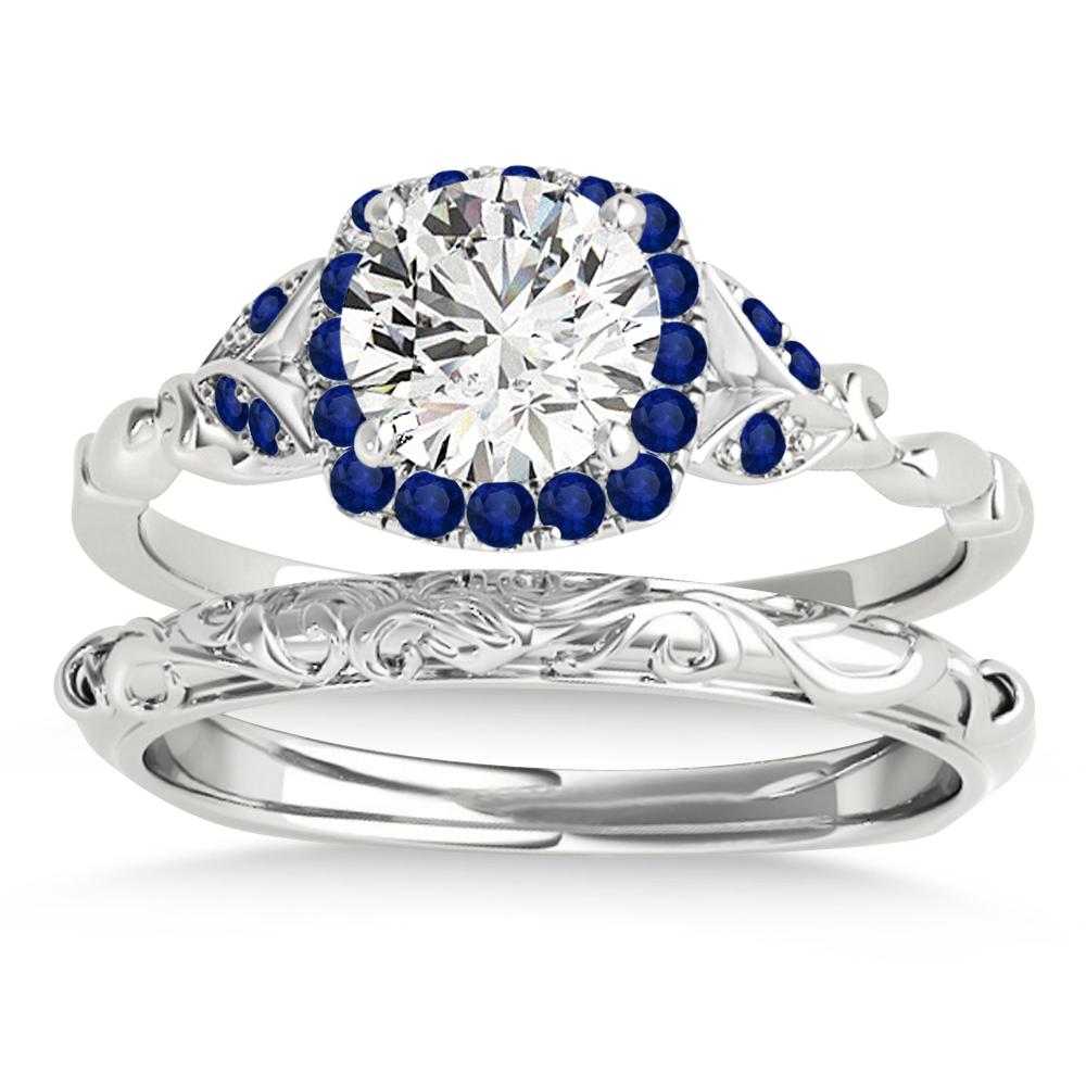 Blue Sapphire Butterfly Halo Bridal Set Platinum (0.14ct)
