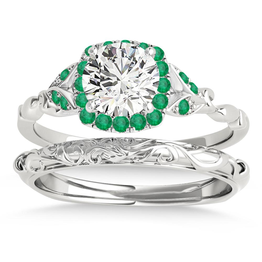 Emerald Butterfly Halo Bridal Set Palladium (0.14ct)