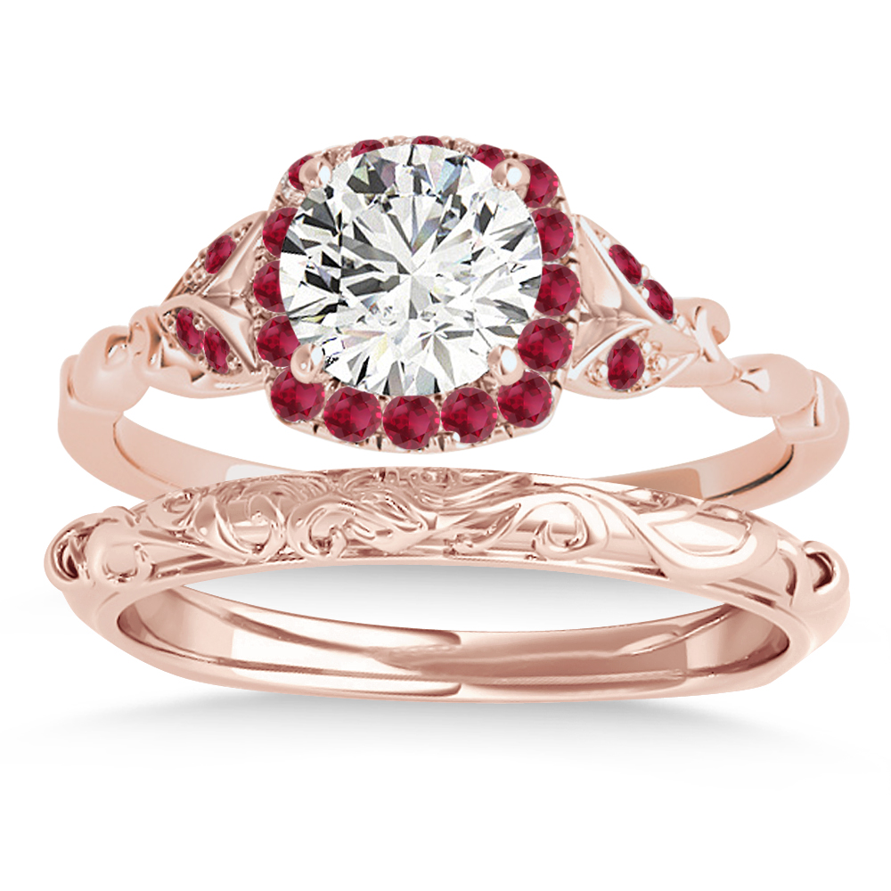 Ruby Accented Butterfly Halo Bridal Set 14k Rose Gold (0.14ct)