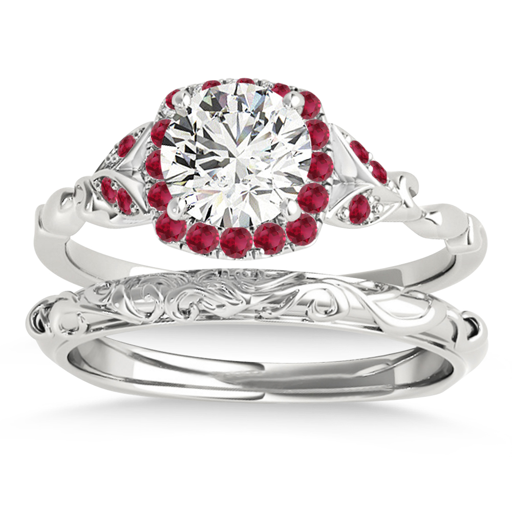 Ruby Accented Butterfly Halo Bridal Set 14k White Gold (0.14ct)