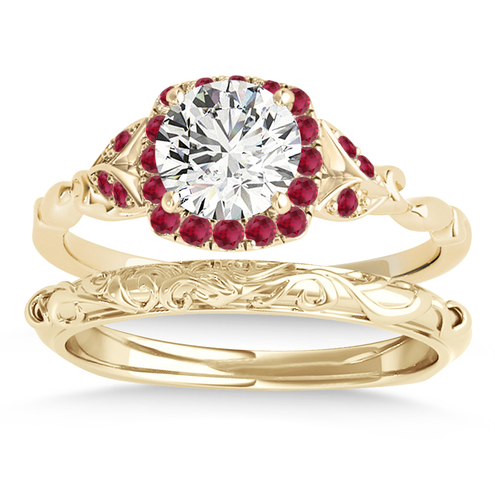 Ruby Accented Butterfly Halo Bridal Set 14k Yellow Gold (0.14ct)