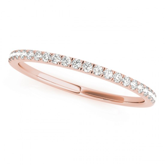 Diamond Prong Wedding Band 18k Rose Gold (0.13ct)