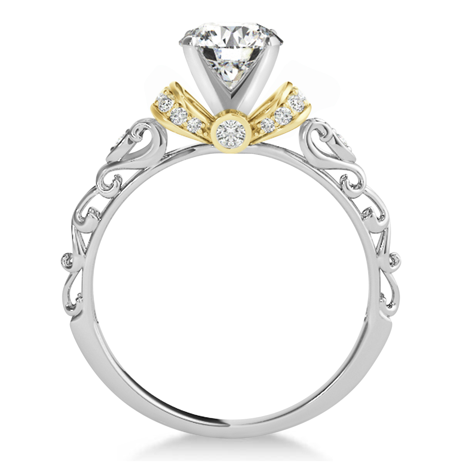 antique style engagement ring 14k two tone gold 0 87ct