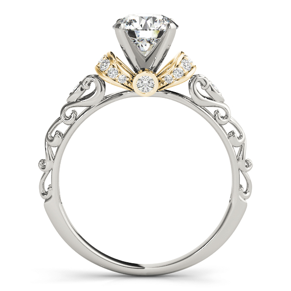 Diamond Antique Style Engagement Ring Setting 18k Two-Tone Gold (0.12ct)