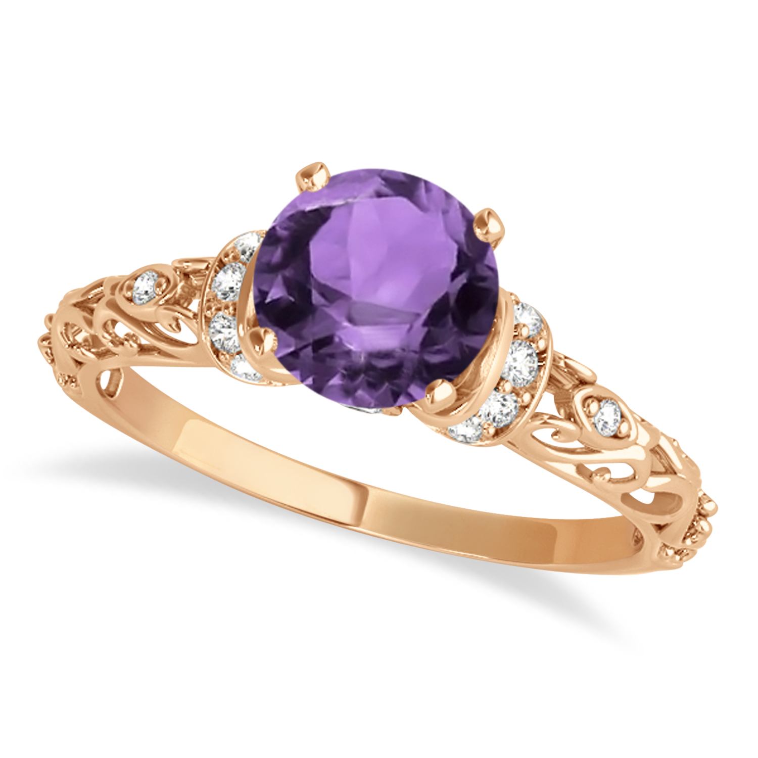 Amethyst & Diamond Antique Style Engagement Ring 14k Rose Gold (0.87ct)