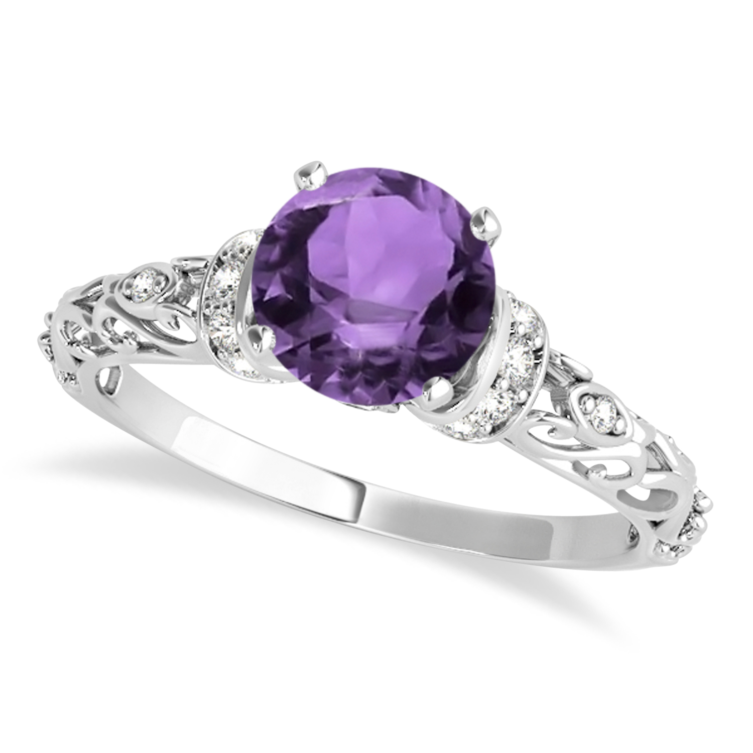 Amethyst & Diamond Antique Style Engagement Ring 18k White Gold (0.87ct)
