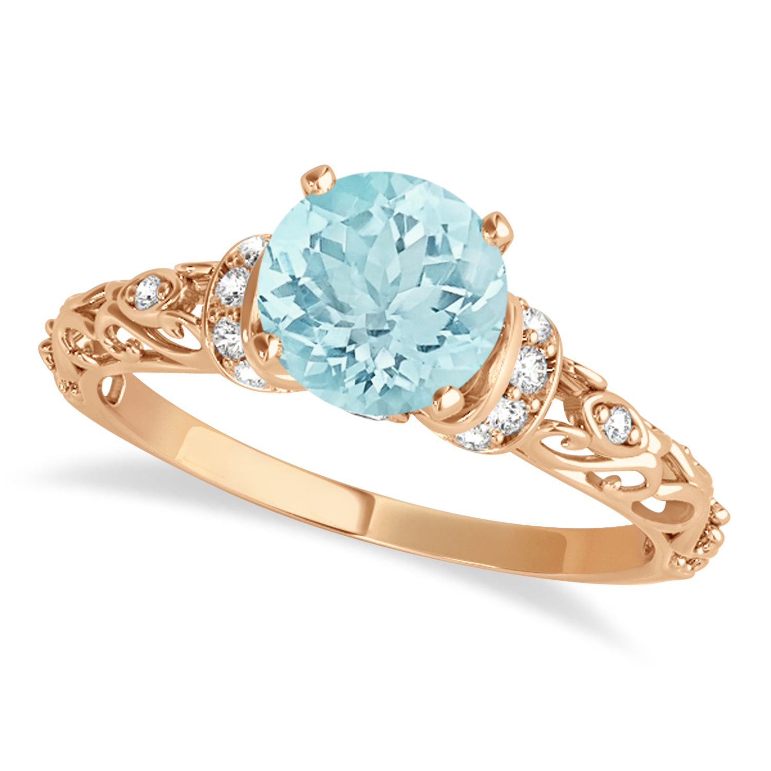 Aquamarine & Diamond Antique Style Engagement Ring 14k Rose Gold (1.12ct)