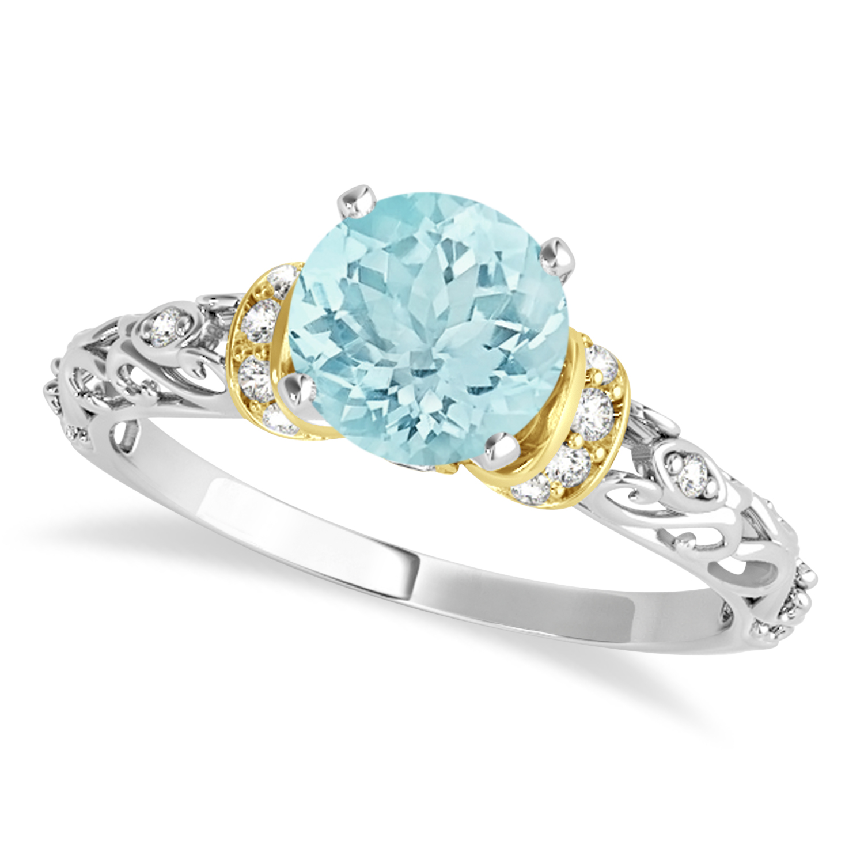 Aquamarine & Diamond Antique Style Engagement Ring 18k Two-Tone Gold (1.62ct)