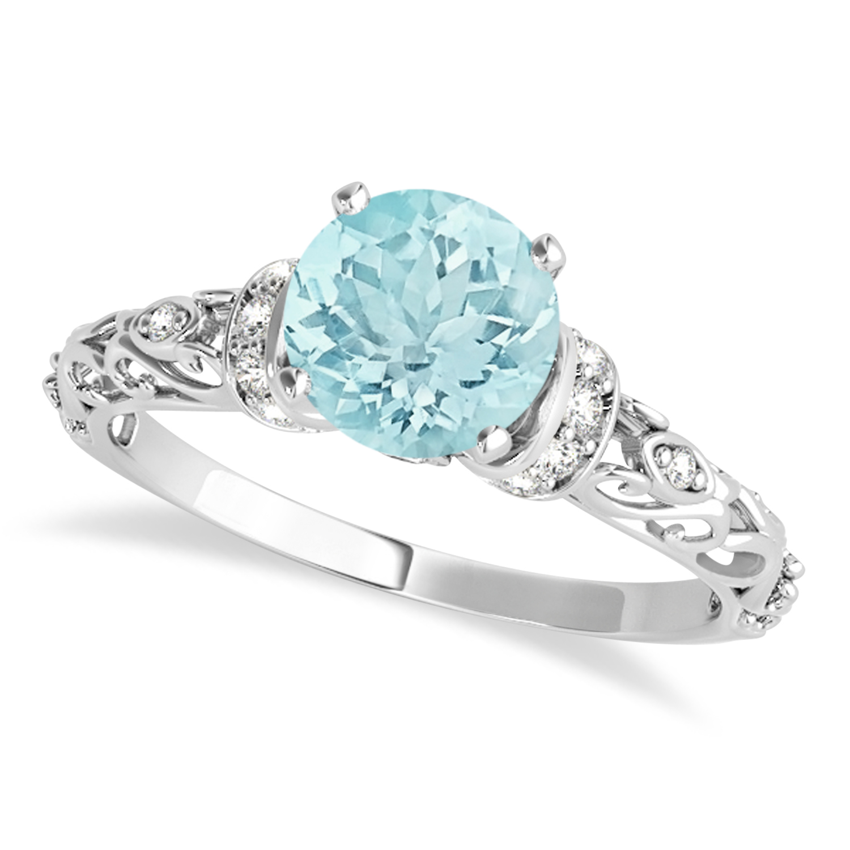 Aquamarine & Diamond Antique Style Engagement Ring Palladium (1.62ct)