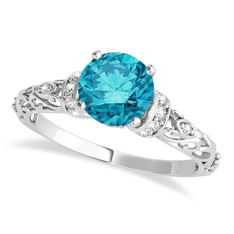 Blue Diamond & Diamond Antique Style Engagement Ring 14k White Gold (1.12ct)