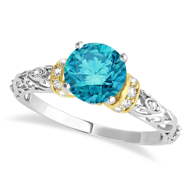 Blue Diamond & Diamond Antique Style Engagement Ring 14k Two-Tone Gold (1.62ct)